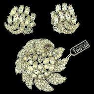 NOS Philippe TRIFARI Pave Rhinestone Flower Figural Brooch Pin & Earrings Set