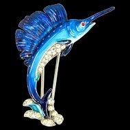 Vtg 1940 Philippe TRIFARI Sailfish Fish Figural Rhinestone Enamel FUR CLIP Brooch Pin