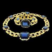 Vtg 1940s KTF TRIFARI Philippe Art Deco Style Sapphire Glass Rhinestone Necklace Bracelet SET
