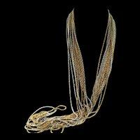 Vtg 1972 CHRISTIAN DIOR 2-Tone Multi-Chain X-Long Necklace & Wide Bracelet SET
