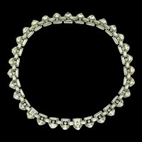 Philippe TRIFARI Demilune Rhinestone Rhodium Plated Choker Necklace with Original Box