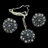 Vtg TRIFARI Sapphire Rhinestone Flowerette Pendant Sterling Necklace & Earrings