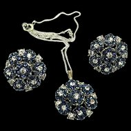 Vtg TRIFARI Sapphire Rhinestone Flowerette Pendant Sterling Necklace & Earrings