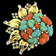 1948 Philippe TRIFARI Tri-Color FRUIT SALAD Rhinestone Golden Leaves Brooch Pin