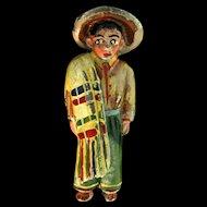 Vtg 1940 Rare CORO Enamel Mexican Man Figural Fur Clip Brooch Pin