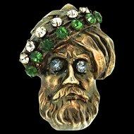 Vtg Vermeil Sterling TURBAN MAN Figural Prong-Set Rhinestone Brooch Pin