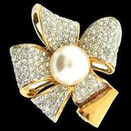 Vtg Sterling Italian AIROLDI Rhinestone Fx Pearl RIBBON BOW Figural Brooch Pin