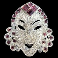 Vintage Period Copy of MAZER Princess Mask Figural Rhinestone DRESS CLIP Brooch Pin