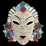 Vintage MAZER Princess Mask Figural Emerald Sapphire Ruby Aqua Rhinestone Brooch Pin
