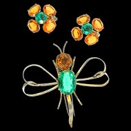 Vtg 1940s Sterling Topaz Emerald Glass Stylized BUTTERFLY Winged Insect Figural Fur Clip & Earrings Set