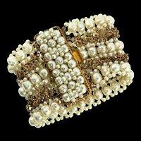 Vintage COPPOLA E TOPPO Italy Fx Baroque Pearl Extra Wide Cuff Bracelet