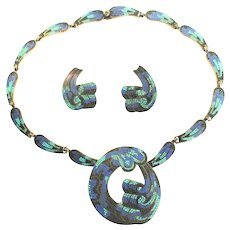 Vintage MARGOT DE TAXCO Mexico Sterling Mosaic Enamel Necklace Brooch Earrings BOOK PIECES