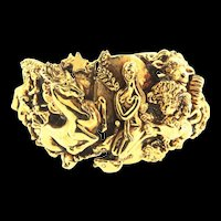 Vtg TORTOLANI Gold-Plated ZODIAC Figural Hinged Heavy Cuff Bracelet