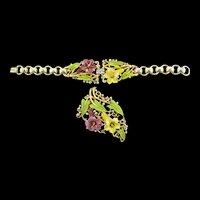 Vtg 1939 Philippe TRIFARI Enamel Rhinestone Lily Flower BRACELET & PIN CLIP