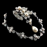 Exquisite 1940s NETTIE ROSENSTEIN Rhinestone Fx Pearl Necklace & Brooch Pin Set Bridal Wedding