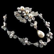 Exquisite 1940s NETTIE ROSENSTEIN Rhinestone Fx Pearl Necklace & Brooch Pin Set Bridal Wedding