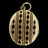 Vintage Antique VICTORIAN 10K Yellow Gold Enamel Photo LOCKET Pendant Charm Photos 7.6g
