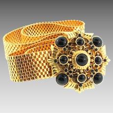 Vintage Rare JOSE BARRERA Couture Runway Black Jeweled Buckle Gold Mesh Metal BELT