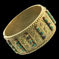 Vintage CHINESE Export Brass and Natural Turquoise Bead Hinged Wide CUFF Bracelet