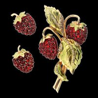 1940s REJA STERLING Rhinestone Enamel Strawberry Figural Brooch and Earrings Set