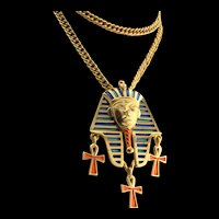 Vintage Rare TRIFARI Egyptian Revival Enameled KING TUT Figural Pendant NECKLACE