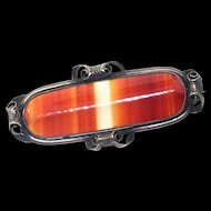Outstanding Antique Victorian Banded Agate Sterling Pin Brooch