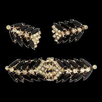 Vintage HOBE Duette Duet and Earrings SET Pins Clips Brooch