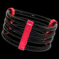 Vintage 1970s GUILLEMETTE L'HOIR PARIS French Galalith Rubber Wide Modernist Bracelet