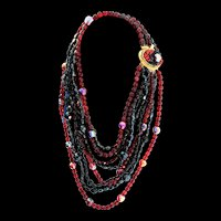 Vintage COPPOLA Italy Multi-Strand Black and Red Glass Bead Long NECKLACE