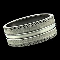 Antique 1880s Victorian Sterling English Engraved VHW Filigree Bracelet CUFF