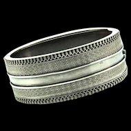 Antique 1880s Victorian Sterling English Engraved VHW Filigree Bracelet CUFF