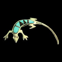 Vintage Native American Navajo MALONEY Turquoise Onyx Sterling Gecko Figural PIN