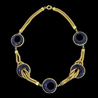 Antique 1920s H&H Hamilton & Hamilton Sterling Art Deco Victorian Snake Chain Blue Glass NECKLACE