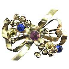 Vintage 1940s HOBE STERLING Ribbon Bow Figural Rhinestone BROOCH PIN with Flower Buds 38g