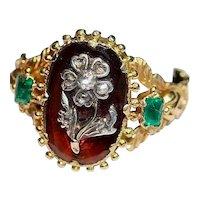 Exceptional Georgian Hessonite Garnet Emeral Diamond Ring  Circa 1820