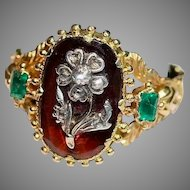 Georgian Hessonite Garnet Emerald And Diamond Ring  Circa 1820