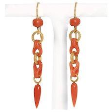 Exquisite Antique Victorian Coral Gilt Metal Dangle Earrings