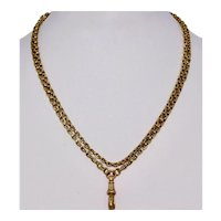 Victorian 29.5 Inch 9K Yellow Gold Chain Necklace With Dog Clip