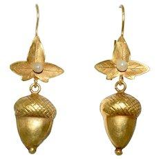 Antique Victorian Acorn 15K Gold Pearl Earrings