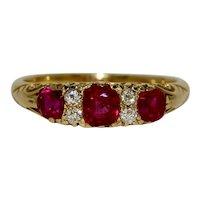 Victorian Certified No Heat Burma Ruby Diamond Half Hoop Stacking Ring