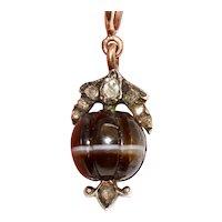 Antique Banded Agate Diamond Charm Pendant