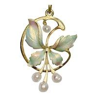 Antique Art Nouveau Enamel Pearl Floral Holly Pendant 18K