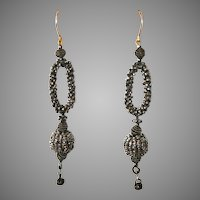 Early Victorian Cut Steel Earrings Circa 1850