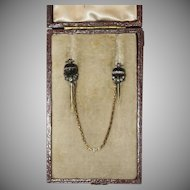 Antique Victorian Gold Banded Agate Diamond Double Cravat Tie Pin with original box