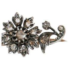 Antique Victorian 14 Carat Diamond Flower Brooch Pin Belgium ca 1850