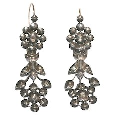 Antique Dutch Gold Diamond Day and Night Drop Earrings ca 1830
