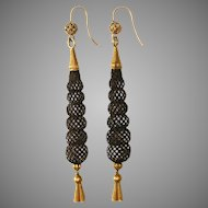 Fine Antique Victorian Gold And Hair Mourning Dangle Earrings Circa 1870