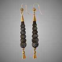 Victorian Mourning Gold And Hairwork Dangle Earrings Circa 1870
