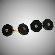 Gold Silver Conversion Black Onyx Diamond Cufflinks