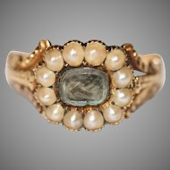 Fine Antique Georgian Pearl And Hair Mourning Ring Circa 1830